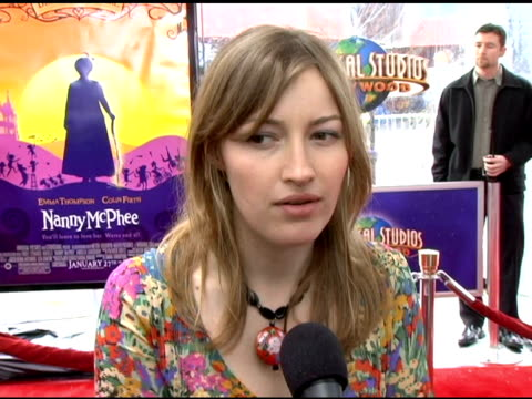 kelly macdonald on the film's location and details of the set on her character evangeline on being more nervous to meet the kids than to meet emma... - emma thompson stock videos and b-roll footage