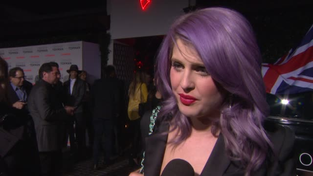 interview kelly osbourne on the affordability of topshop clothing at topshop topman la opening party at cecconi's on 2/13/2013 in los angeles ca - kelly osbourne stock videos and b-roll footage