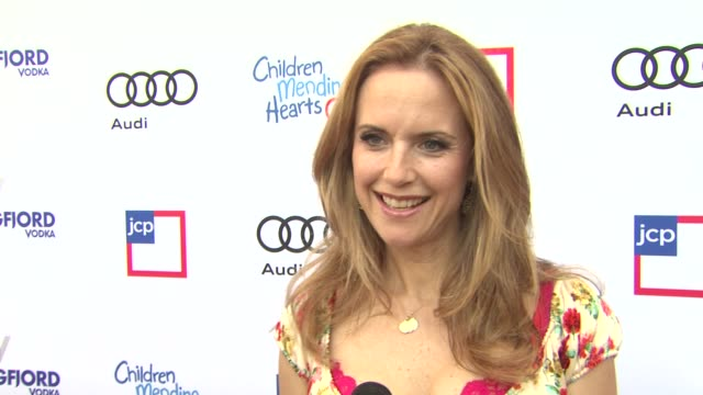 interview kelly preston on the event and summer at 1st annual children mending hearts style sunday on 6/92/13 in los angeles ca - kelly preston stock-videos und b-roll-filmmaterial