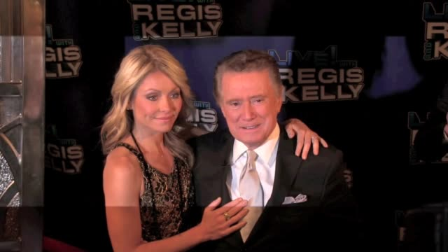 kelly ripa and regis philbin at live with regis kelly in new york 11/18/11 - regis philbin stock videos and b-roll footage
