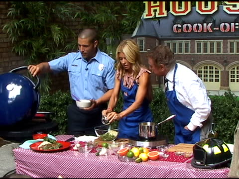 kelly ripa and regis philbin participate in the firehouse cookout at the celebrity sightings in new york at new york ny - regis philbin stock videos and b-roll footage