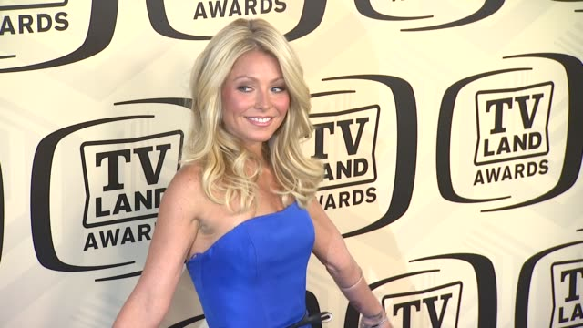 kelly ripa at tv land awards 10th anniversary arrivals at lexington avenue armory on april 14 2012 in new york ny - tv land awards stock videos and b-roll footage