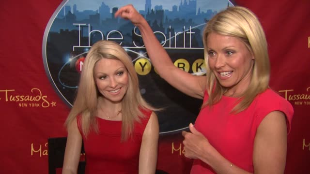 kelly ripa says regis philbin picked the wax figure as the real kelly when asked on their show this morning at the the spirit of new york exhibit... - regis philbin stock videos and b-roll footage