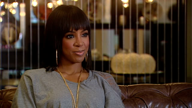 stockvideo's en b-roll-footage met kelly rowland interview / reaction to frankie cocozza leaving x factor; england: london: int kelly rowland interview sot - enjoying being in london,... - kelly rowland
