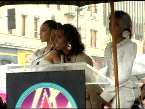kelly rowland of destiny's child addresses the fans at the dedication of destiny's child's star on walk of fame at hollywood boulevard in hollywood,... - destiny's child stock videos & royalty-free footage