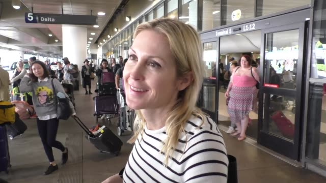 interview kelly rutherford talks about the election while arriving at lax airport in los angeles in celebrity sightings in los angeles - kelly rutherford stock videos & royalty-free footage