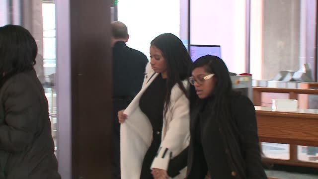 kelly's girlfriend, azriel clary and joycelyn savage, enter chicago courthouse during an r. kelly trial hearing on february 23, 2019. - r. kelly stock videos & royalty-free footage