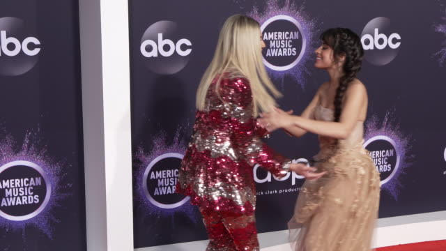 kelsea ballerini and camila cabello at the 2019 american music awards at microsoft theater on november 24 2019 in los angeles california - american music awards stock videos & royalty-free footage