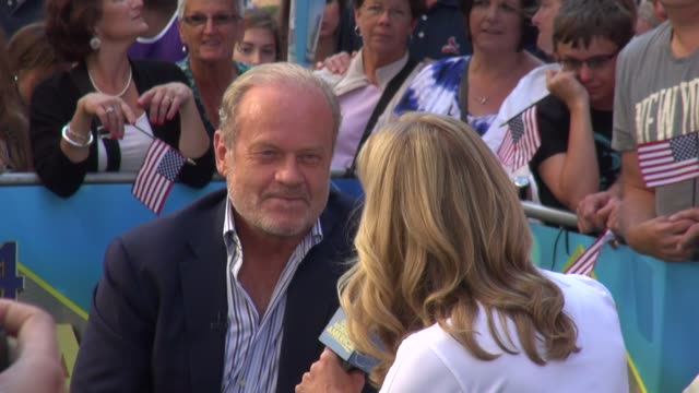 kelsey grammer being interviewed on the outside set of the good morning america show in times square in celebrity sightings in new york, - new age stock videos & royalty-free footage
