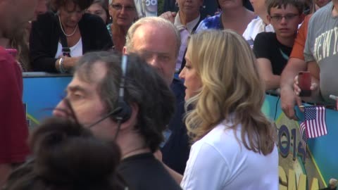 kelsey grammer talking with lara spencer before being interviewed by her on the outside set of the good morning america show in times square in... - new age stock videos & royalty-free footage