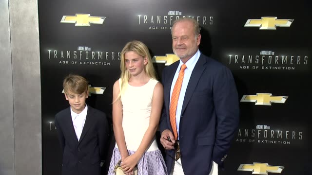 """kelsey grammer with children mason and jude at """"transformers: age of extinction"""" new york premiere at ziegfeld theatre on june 25, 2014 in new york... - new age stock videos & royalty-free footage"""