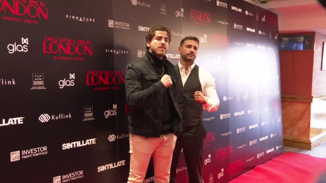 kem croft and kerim hassan at once upon a time in london uk premiere on april 15 2019 in london united kingdom - croft stock videos & royalty-free footage