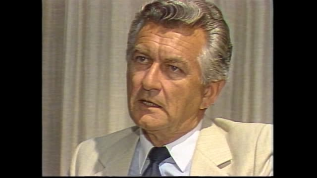 ken begg intro in studio / bob hawke interview re taking over as alp leader i didn't know till i arrived here that it was going to happen today - bob hawke stock videos and b-roll footage