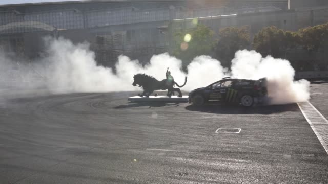 Ken Block demonstrates drift technique at the Tokyo Auto Salon in Chiba Japan on Friday Jan 12 2018