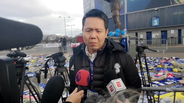 Ken Choo chief executive of Cardiff City speaks about missing footballer Emiliano Sala outside Cardiff City Stadium