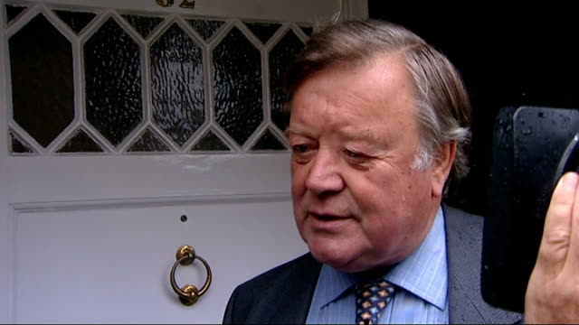 ken clarke interview on cameras in court and sentences for rioters england london ext kenneth clarke mp leaving house with red box / clarke putting... - kenneth clarke stock-videos und b-roll-filmmaterial