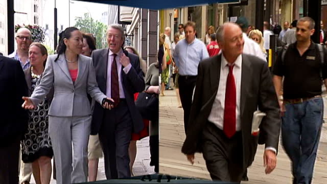 ken livingstone and oona king on shortlist of labour candidates for london mayor england london city hall / oona king towards with lord kinnock alan... - running shorts stock videos & royalty-free footage