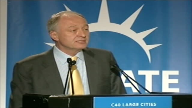 ken livingstone attends c40 large cities climate summit usa new york c40 large cities climate summit int ken livingstone speech sot purpose of this... - briglia video stock e b–roll