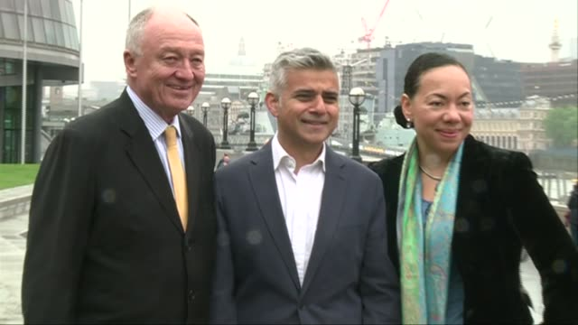 stockvideo's en b-roll-footage met ken livingstone backs sadiq khan as labour candidate for london mayor england london tooting with ken livingstone and oona king baroness king of bow... - ken livingstone
