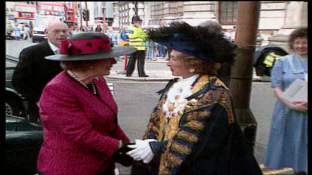 ken livingstone writes to attorney general over dame shirley porter lib thatcher shaking hands with porter westminster city hall protest sign - porter stock videos & royalty-free footage