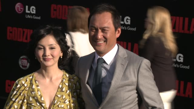 """ken watanabe and kaho minami at the """"godzilla"""" los angeles premiere at dolby theatre on may 08, 2014 in hollywood, california. - the dolby theatre stock videos & royalty-free footage"""