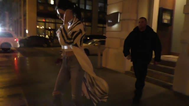 kendall jenner kris jenner corey gamble leave nobu restaurant in manhattan in celebrity sightings in new york - nobu restaurants stock videos & royalty-free footage