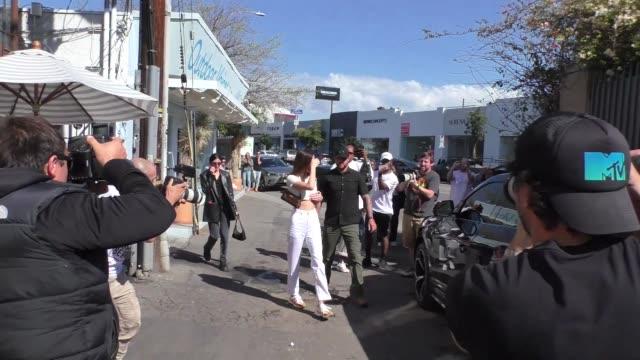 kendall jenner leaves croft alley in west hollywood in celebrity sightings in los angeles, - celebrity sightings stock videos & royalty-free footage