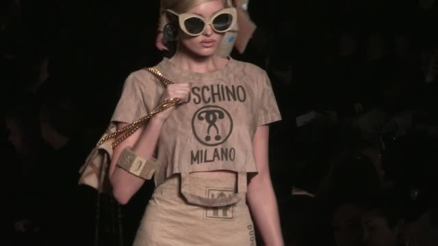 Kendall Jenner Stella Maxwell Lily Donaldson Elsa Hosk Romee Strijd and more models on the runway for the Moschino Ready To Wear fall winter 2017...