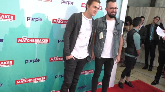 vídeos y material grabado en eventos de stock de kendall schmidt dustin belt outside the matchbreaker premiere at arclight cinemas cinerama dome in hollywood in celebrity sightings in los angeles - cinerama dome hollywood