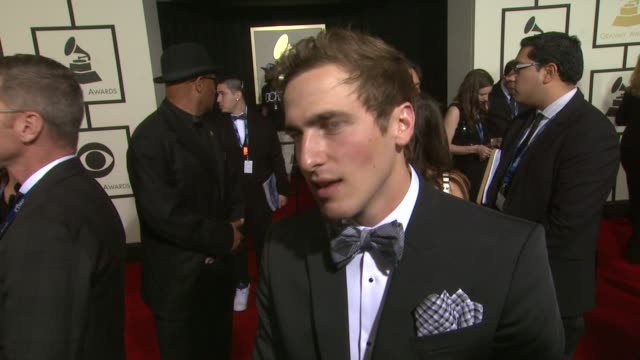 interview kendall schmidt on being at the event upcoming projects at 56th annual grammy awards arrivals interviews at staples center on in los... - kendall schmidt stock videos & royalty-free footage