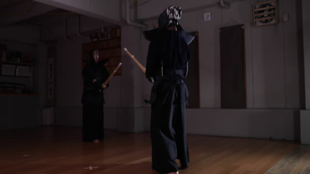 kendo practice in dojo, tokyo, japan. - arts culture and entertainment stock videos & royalty-free footage