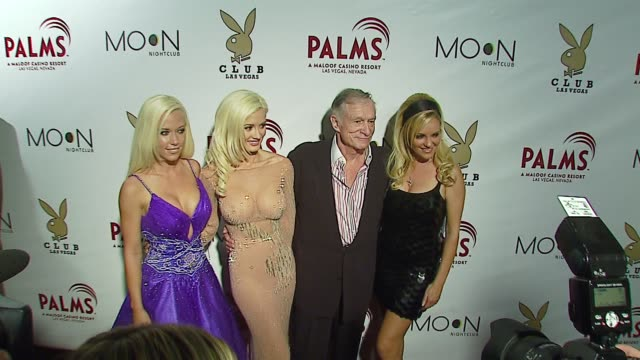kendra wilkinson bridget marquardt hugh hefner and holly madison at the the playboy club vip grand opening at the palms hotel and casino at the palms... - playboy magazine stock videos and b-roll footage
