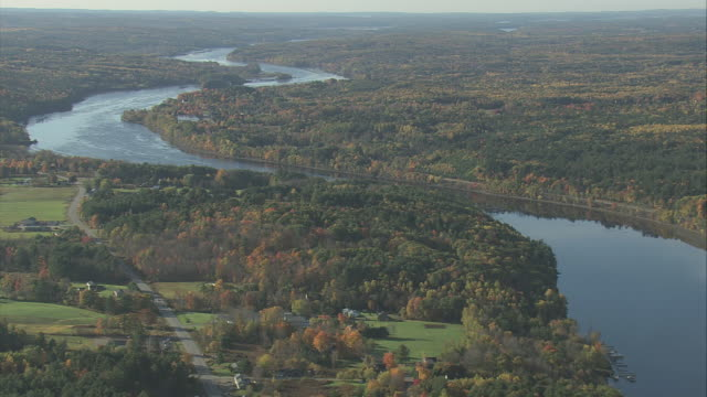 aerial kennebec river / maine, united states - kennebec river stock videos & royalty-free footage