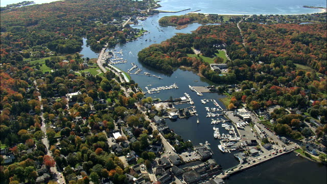 kennebunkport  - aerial view - maine,  york county,  united states - maine stock videos & royalty-free footage