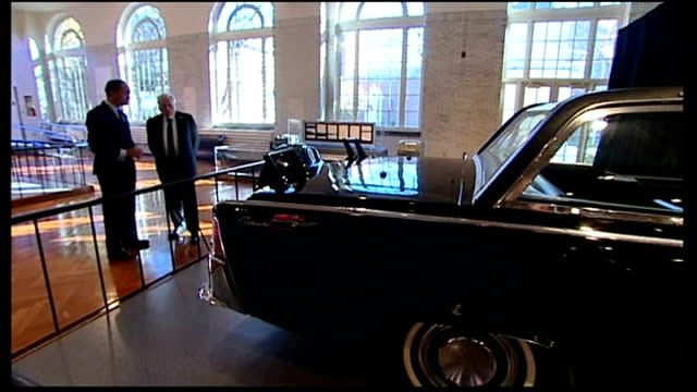 clint hill interview usa michigan dearborn int kennedy car on display in henry ford museum / clint hill looking at john fkennedy exhibit in henry... - dearborn michigan stock videos and b-roll footage