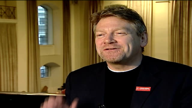 kenneth branagh to direct charity concert for leukaemia research; kenneth branagh interview sot - talks of challenge organising it - itv london tonight weekend stock videos & royalty-free footage