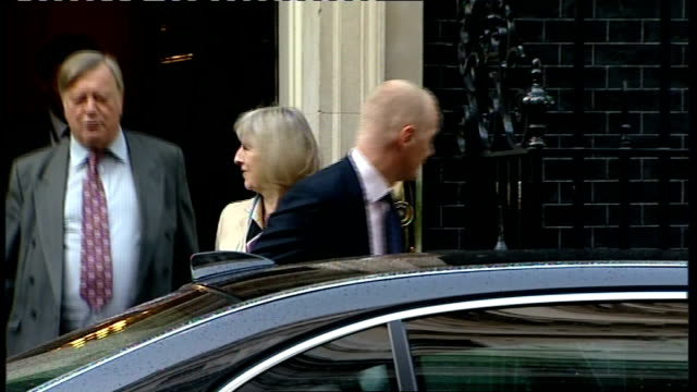 kenneth clarke and theresa may 'cat spat' over human rights act; downing street: ext vince cable out from number ten followed by may and clarke... - vince cable stock videos & royalty-free footage