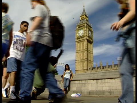 kenneth clarke comments on standing for conservative leadership; england london westminster ext all good shots sunbathers on the grass outside houses... - b rolle stock-videos und b-roll-filmmaterial