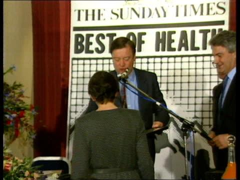 kenneth clarke profile ulm3274 61289/itn london cms clarke presenting sunday times 'best of health' awards pan rl - kenneth clarke stock-videos und b-roll-filmmaterial