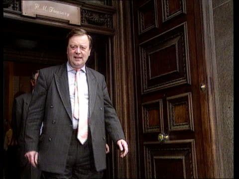 kenneth clarke tax statement itn lib london treasury lams kenneth clarke mp coming out of treasury with michael portillo mp lacms clarke posing for... - michael portillo stock videos & royalty-free footage