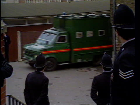kenneth noye found guilty of murder itn lib dartford court police van carrying kenneth noye along past as arriving at court ms noye led towards past... - mat stock videos and b-roll footage