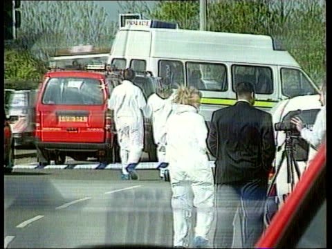 kenneth noye:; lib england: kent: m25: ext gvs red van stationary on sliproad with forensics officers around - kenneth noye stock videos & royalty-free footage