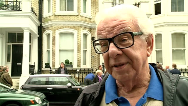 kenny everett honoured with british comedy society blue plaque; paul gambaccini and barry cryer chatting onlookers barry cryer interview sot rocos... - barry cryer stock videos & royalty-free footage