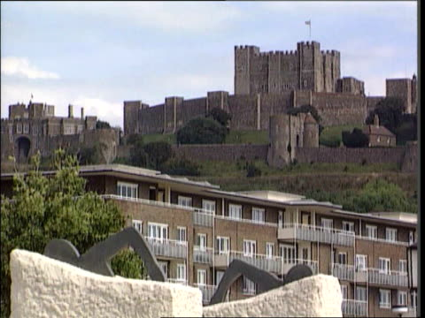 kent dover ext dover castle pull out street with sign for 'mildmay hotel' in f/g food in plastic bag on windowsill sign for the 'elmo guest house'... - dover england stock videos & royalty-free footage