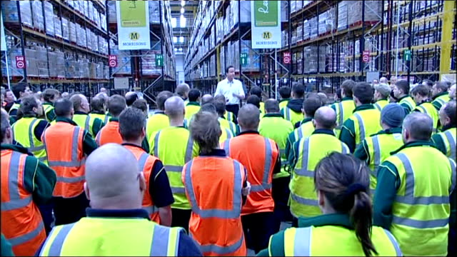 kent sittingbourne int shots of david cameron mp standing on pallets to address workers at morrisons supermarket distribution centre david cameron mp... - kent england stock videos & royalty-free footage