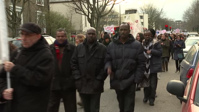 stockvideo's en b-roll-footage met kentish town march against knife crime england london kentish town malden road ext various shots knife crime protest along / protesters with 'no more... - kentish town