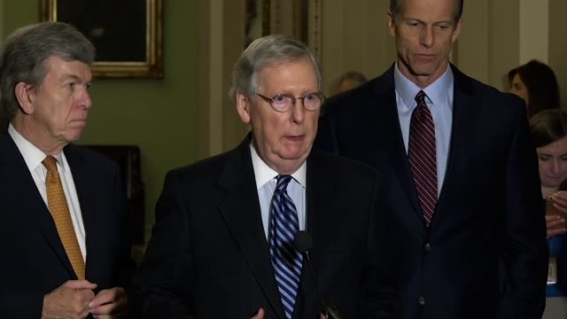 Kentucky Senator Mitch McConnell answers reporter questions at a briefing hours before this 2018 State of the Union address saying the overwhelming...