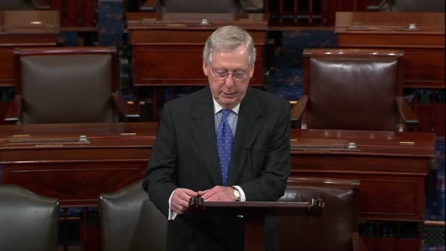 kentucky senator mitch mcconnell says that stable employment is not just a path to financial security for workers affected but that a paycheck is... - gehaltsstreifen stock-videos und b-roll-filmmaterial