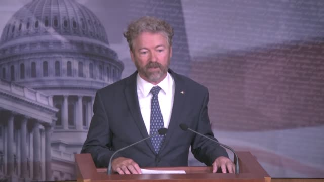 kentucky senator rand paul begins a press conference on alleged unmasking of american targets by obama administration officials to say he sent a... - 盗み聞き点の映像素材/bロール