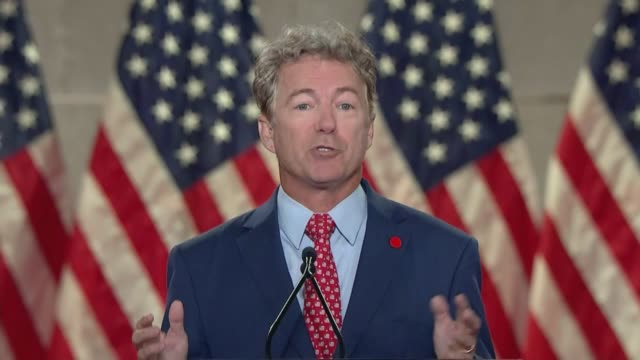 stockvideo's en b-roll-footage met kentucky senator rand paul says in remarks to the 2020 republican national convention that he first met donald trump before he ran for anything... - met rand